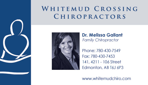 Standard Business Card template designed for Whitemud Crossing Chiropractors Clinic.