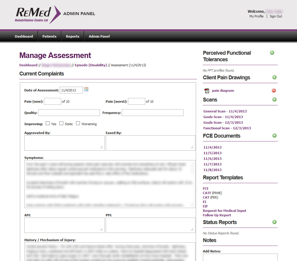 A typical Assessment screen.